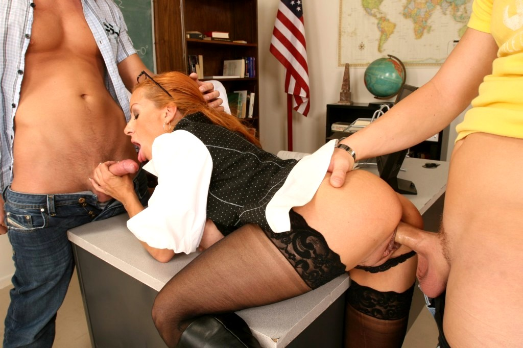 Mom fucks teacher on