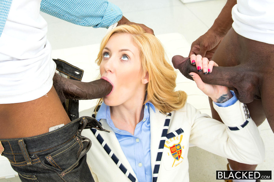 Classy Blonde Patrisha Swallowing Two Big Cocks At Once Freexcafe 1