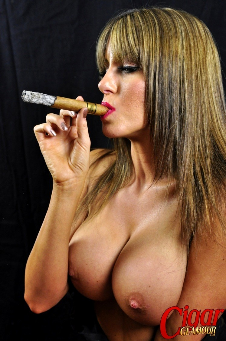 naked woman with cigar