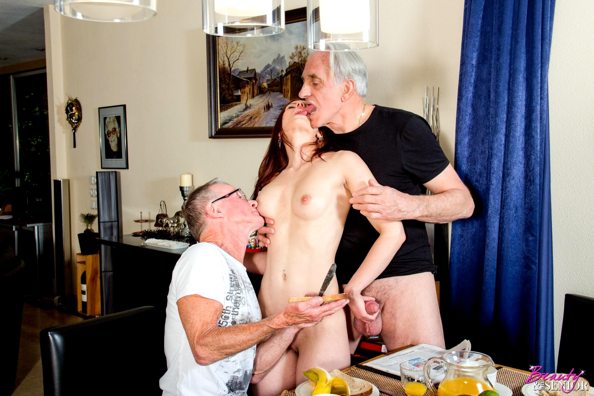 Senior citizens in threesome sex pictures