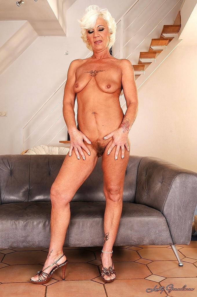 Nude grandma in high heels