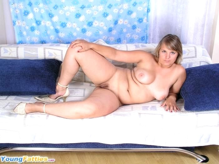 Natural blonde chubby plumper